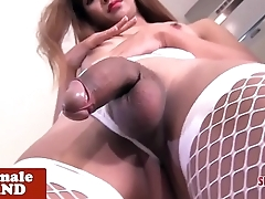Ladyboy nurse strips in kitchen