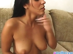 Step mom helps stud by blowing and riding his cock