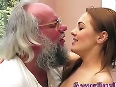Teen creampied by senior