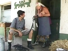 BBW Granny Takes Huge Young Cock