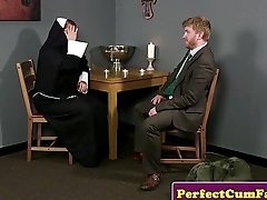 Plump brit nun cocksucking until face spunked