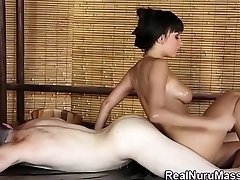 Pretty masseuse creampie