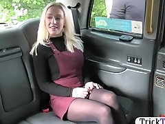 Blonde passenger in pantyhose pounded