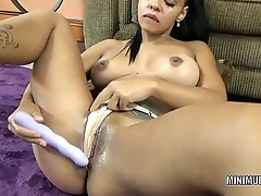 Petite hottie Charli stuffs her hot Latina pussy with a toy