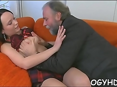 Old guy seduces a juvenile chick
