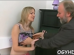 Fascinating young gal licked by pold boy
