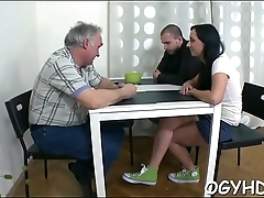 Old dude eats juvenile pussy