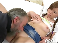 Cute young beauty fucked by old fellow