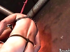 Hogtied twink gets butt ravaged by his old master