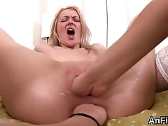 Sexy lesbian sex kittens are gaping and fist fucking assholes