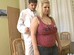 Blonde fatty gets doggystyled during medical examination