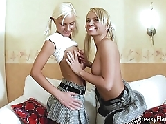 Sexy lesbian couple enjoy ripping each others fuckholes with a huge dildo