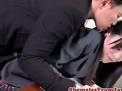 Ladyboy secretary doggystyled on office desk