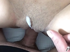 Povbitch El Storm get huge loads of cum on her hairy young pussy
