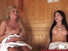Tattooed babe pussylicking mature chick