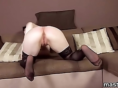 Flirty czech chick gapes her slim pussy to the special
