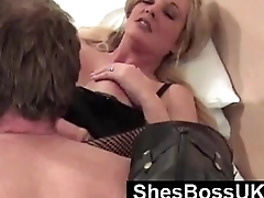 Blonde British Domme uses submissive for oral pleasure