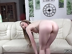 Pretty czech girls stretch their butts with anal plug and huge sex toys