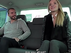 Stupid blonde cheated and fucked in car with huge cumshot