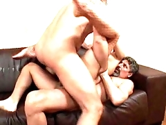 hot italian brunette fucking hard by two very big cocks- 1