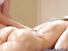 Lesbian masseuse orally pleasures client