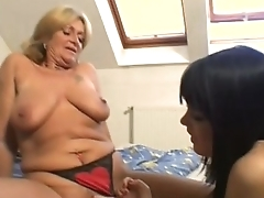 Hot milf and her young whore fucked in a stunning threesome!