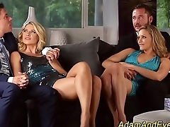 Swinger babes swap cum