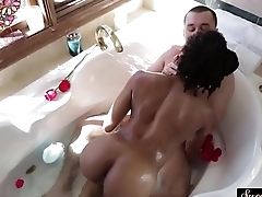 Ebony stepdaughter fucked in the bathroom